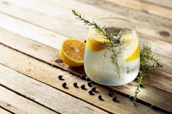 Ein-Glas-gefuellt-mit-Gin-und-Tonic-mit-Wacholderzweig-und-Zitronenscheiben-auf-einem-Holztisch